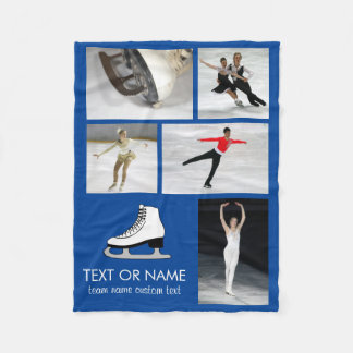 Personalized Skating Photo Collage Skater's Name Fleece Blanket