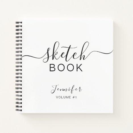 Personalized Sketchbook Your Name Elegant Script Notebook