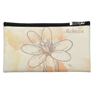 Personalized Sketched Floral on Watercolor Splats Cosmetic Bag