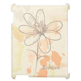 Personalized Sketched Floral on Watercolor Splats iPad Case