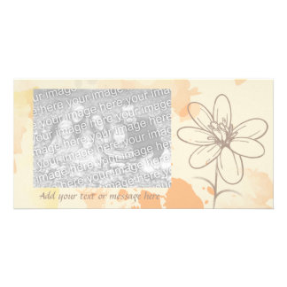 Personalized Sketched Floral on Watercolor Splats Photo Card