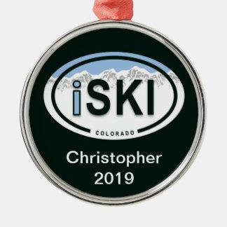 "Personalized Skiing ""iSKI"" Oval Colorado  Ornament"