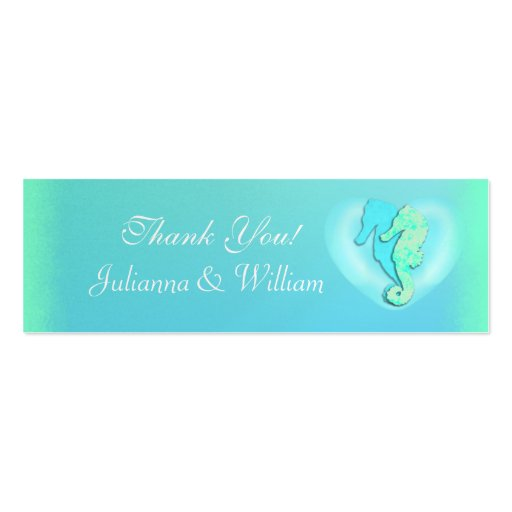 Personalized Skinny Sea Horse Wedding Favor Tags Business Card Template