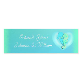 Personalized Skinny Sea Horse Wedding Favor Tags Double-Sided Mini Business Cards (Pack Of 20)