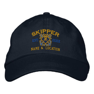 Personalized Skipper Nautical Crossbones Skull Embroidered Hats