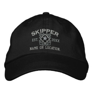 Personalized Skipper Nautical Star Embroidery Embroidered Baseball Cap