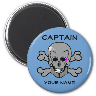 Personalized skull and Cross bones 2 Inch Round Magnet