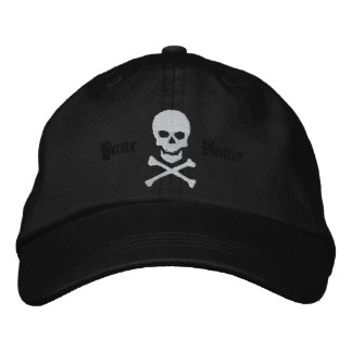 Personalized Skull and Crossbones Embroidered Cap Embroidered Hat
