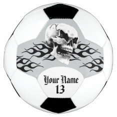 Personalized Skull And Flame Soccer Ball at Zazzle