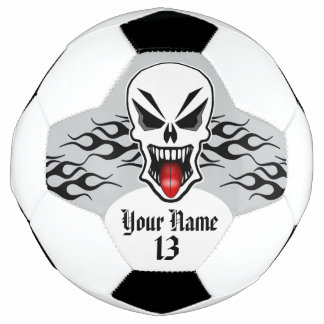 Personalized Skull and Flame Soccer Ball