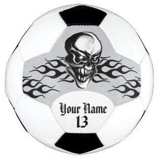 Personalized Skull and Flames Soccer Ball
