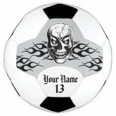 Personalized Skull And Flames Soccer Ball at Zazzle