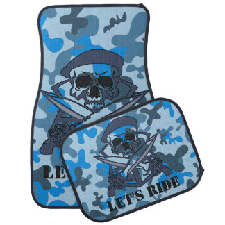 Personalized Skull Beret Blue Gray Camouflage Camo Car Floor Mat