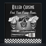 """Personalized Skull Chef Binder<br><div class=""""desc"""">Keep your recipes secure and organized in this cool skull chef binder. 3 laughing skulls wearing their chef hats with grilling utensils, entitled &quot;Killer Cuisine... Feed your funny bones.&quot; Add your name to the back with Zazzle&#39;s customization tool. The background color can be changed to one of your choice. This...</div>"""