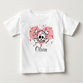 Personalized Skull Infant Tee Pink Bow Heart