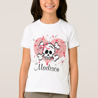 Personalized Skull Kids Ringer Tee Pink Bow Heart