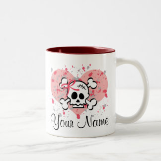 Personalized Skull Mug Pink Bow Heart