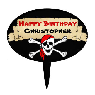 Personalized Skull Pirate Birthday Cake Topper