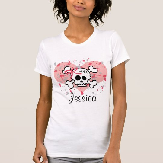Personalized Skull T-shirt Pink Bow Heart