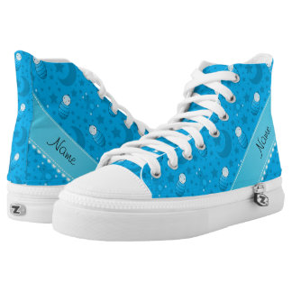 Personalized sky blue baby teddy bear stars moons High-Top sneakers