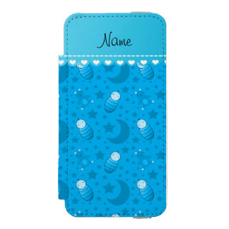 Personalized sky blue baby teddy bear stars moons iPhone SE/5/5s wallet case