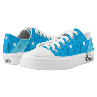 Personalized sky blue baby teddy bear stars moons Low-Top sneakers