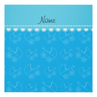 Personalized sky blue white baby carriages panel wall art