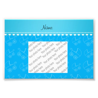 Personalized sky blue white baby carriages photo print