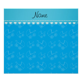 Personalized sky blue white baby carriages poster