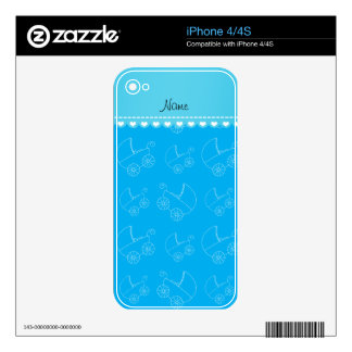 Personalized sky blue white baby carriages decal for iPhone 4