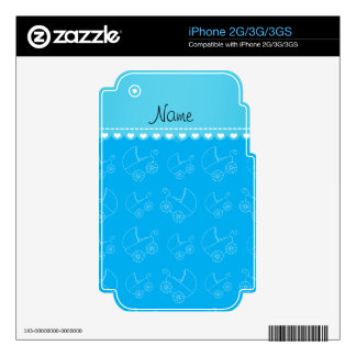 Personalized sky blue white baby carriages skins for the iPhone 2G