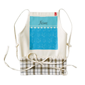 Personalized sky blue white baby carriages zazzle HEART apron