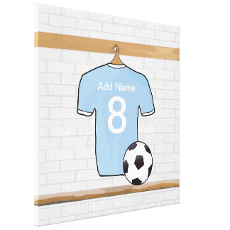 Personalized Sky Blue White Football Soccer Jersey Canvas Print