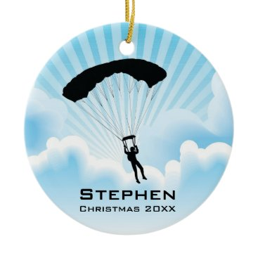 Christmas Themed Personalized Sky Diving Parachuting Ornament