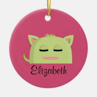 Personalized Sleeping Kitty on a Pink background Ceramic Ornament
