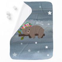 Personalized Sleepy Bear Floral Stars Watercolor Stroller Blanket