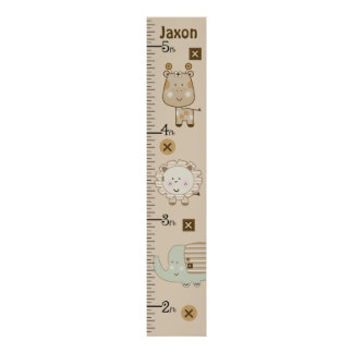 Personalized Sleepy Safari Animals Growth Chart Poster