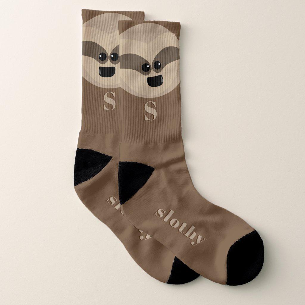 Personalized Slothy McSloth Cartoon Sloth Socks