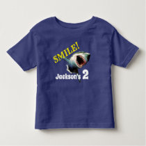 """Personalized """"Smile"""" Shark Birthday Toddler T-shirt"""