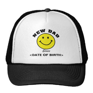 Personalized Smiley Face New Dad Cap Trucker Hat