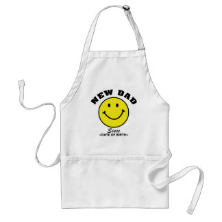 Personalized Smiley Face New Dad Gift Adult Apron