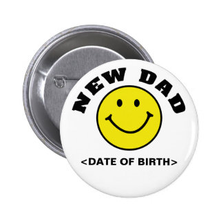Personalized Smiley Face New Dad Gift Pins