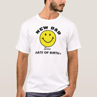 Personalized Smiley Face New Dad T-Shirt