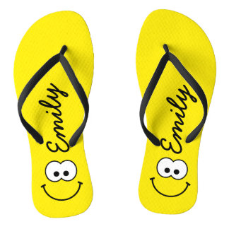 Personalized Smiley Yellow Flip Flops