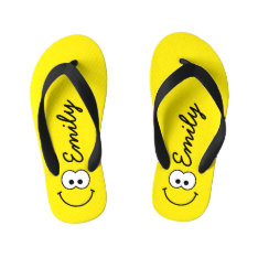 Personalized Smiley Yellow Kid's Flip Flops at Zazzle