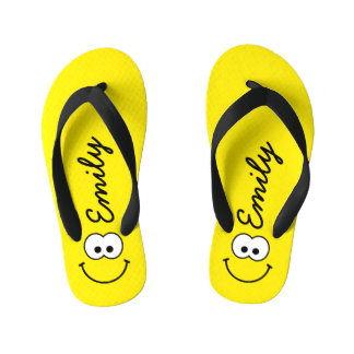 Personalized Smiley Yellow Kid's Flip Flops