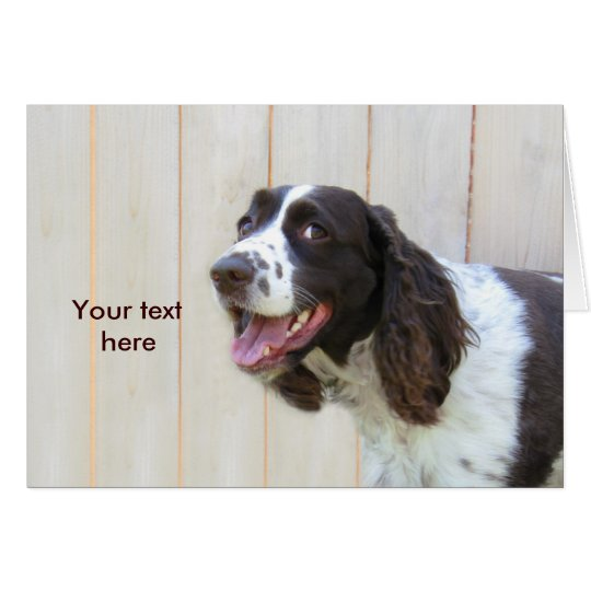 Personalized Smiling English Springer Spaniel Card