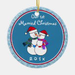 Personalized-Snow Couple's Our 1st Christmas Ornament