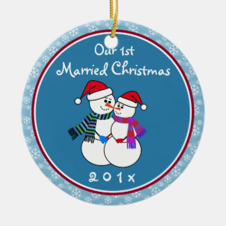 Personalized-Snow Couple's Our 1st Christmas Double-Sided Ceramic Round Christmas Ornament