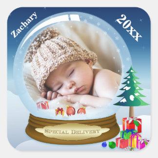 Personalized Snow Globe Photo Christmas Sticker